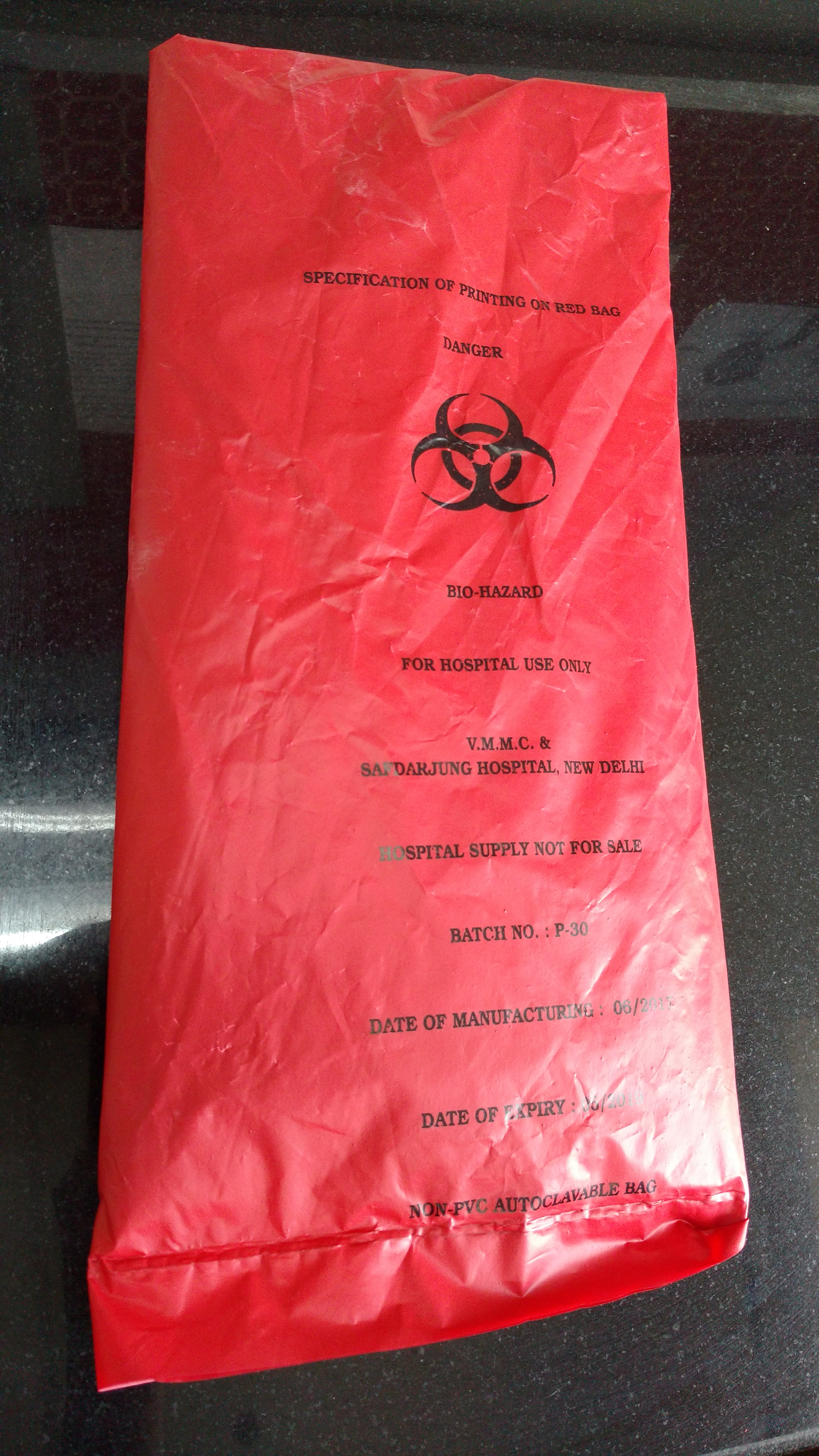 red non chlorinated bag